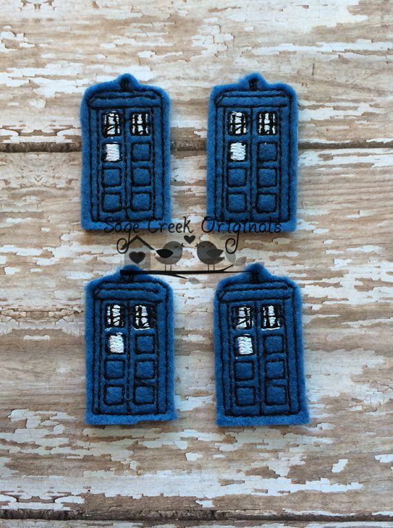 Tardis Dr. Who  Set of 4 Feltie Felt Applique by WholesaleFelts, $3.95