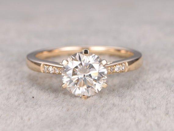 Moissanite Engagement ring 14k solid gold, Diamond wedding band, 14k, 6.5mm Round, Gemstone Promise Ring, 6 prongs, Brilliant cut moissanite
