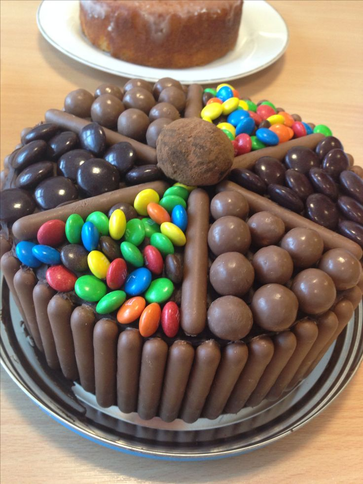 Chocoholic delight Chocolate cake filled and topped with chocolate ganache, covered in cadburys fingers, maltesers, m&ms and minstrels.