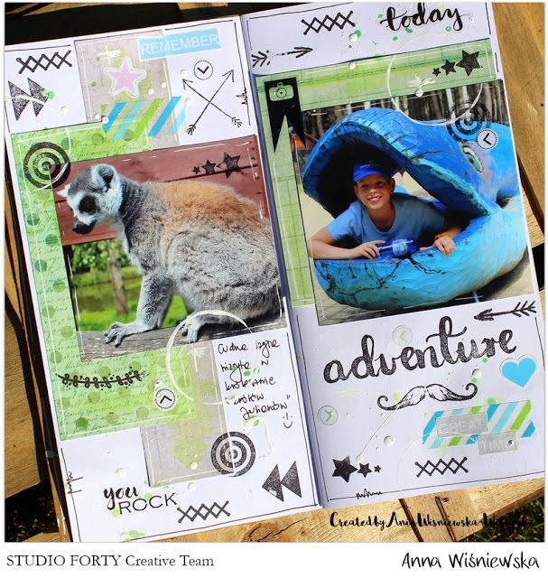 Page in Traveler's Notebook by Wiosanka - Anna Wisniewska, made with stamps and stickers from StudioForty.pl