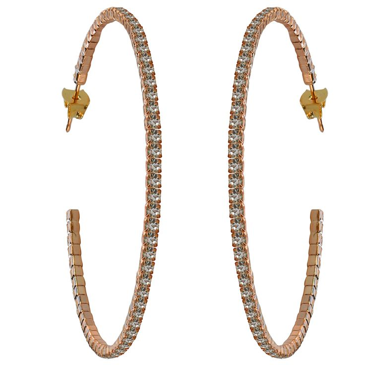 50mm Crystal Hoop Earrings – Rose Gold