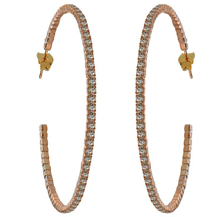 50mm Crystal Hoop Earrings – Rose Gold