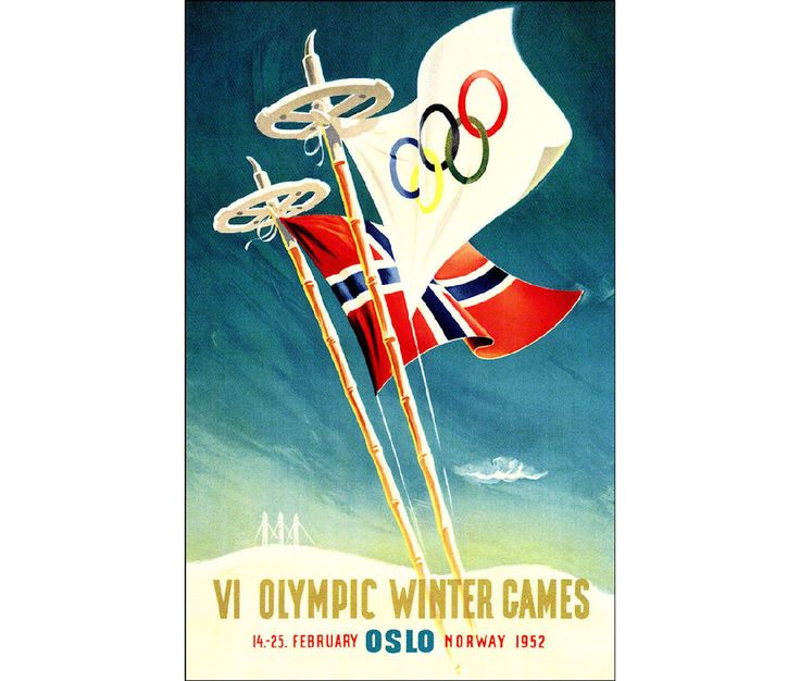 Oslo Norway 1956 Olympic Games Vintage Poster Retro Art Print Winter Olympics Free US Post Low EU Post by VintagePosterPrints on Etsy