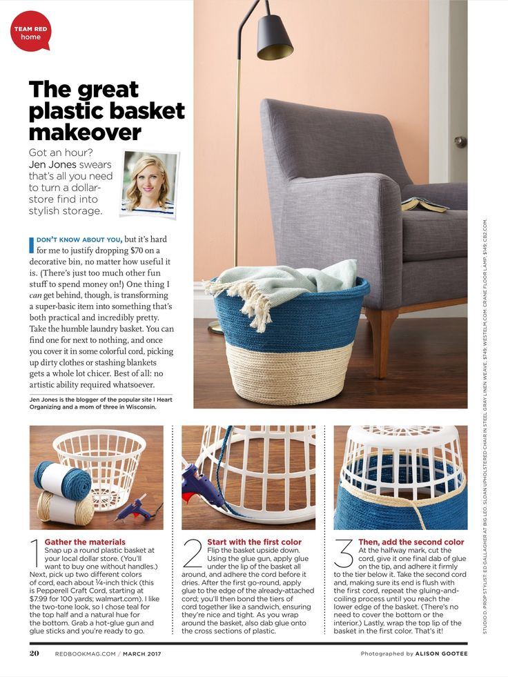 Plastic laundry basket makeover