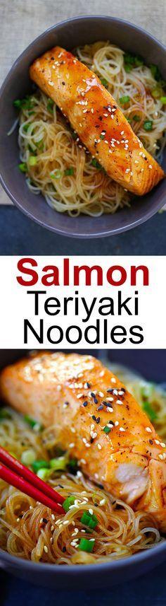 Salmon Teriyaki Noodles – moist and juicy salmon and rice noodles made with San-J Tamari. Gluten-free, healthy family weeknight dinner   rasamalaysia.com