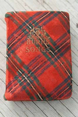 Miniature Book of Robert Burns Songs w/ Illustrations Printed in Scotland Cloth!