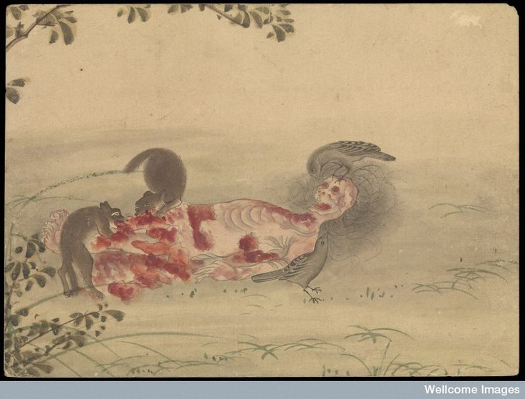 Kusozu: the death of a noble lady and the decay of her body, panel 6 of 9. Decomposition continues with the help of scavengers.