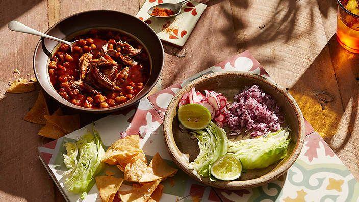 Mexican pork and white corn soup (pozole rojo) recipe : SBS Food