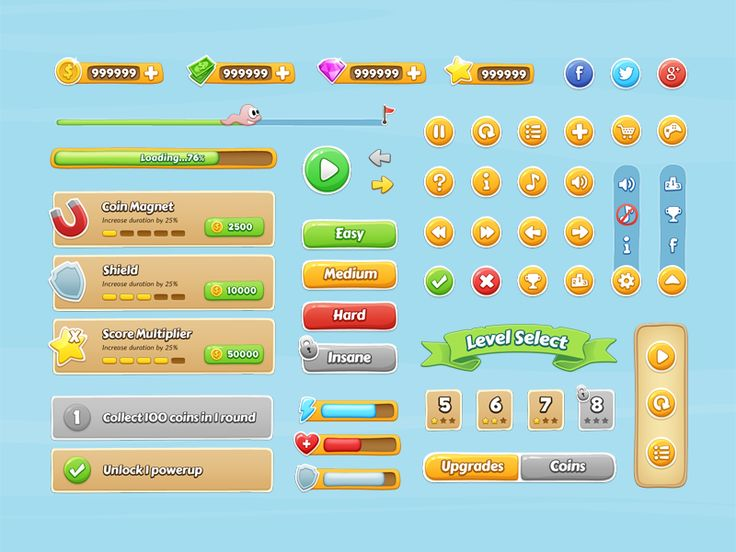 Hey guys! Here's a fun, colorful, cartoony game interface kit great for 2D mobile games.  Grab the free PSD here: http://graphicburger.com/mobile-game-gui/  P.S. Check out the full kit in the attac...