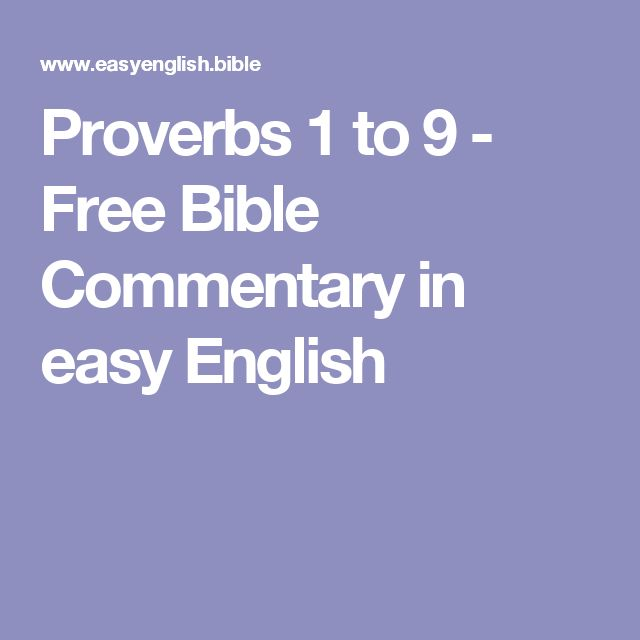Proverbs 1 to 9 - Free Bible Commentary in easy English