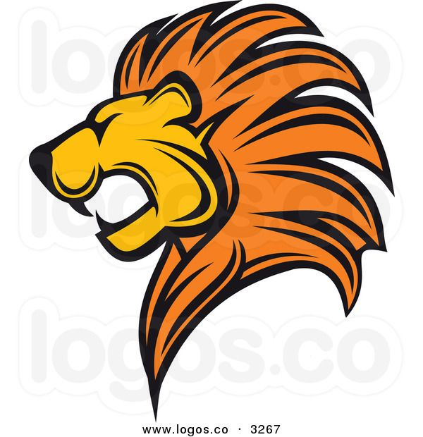 Royalty Free Vector of an Aggressive Profiled Lion Face Logo