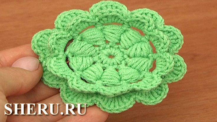 Crochet 2-Layered Petal Flower Урок 92 Как вязать цветок крючком