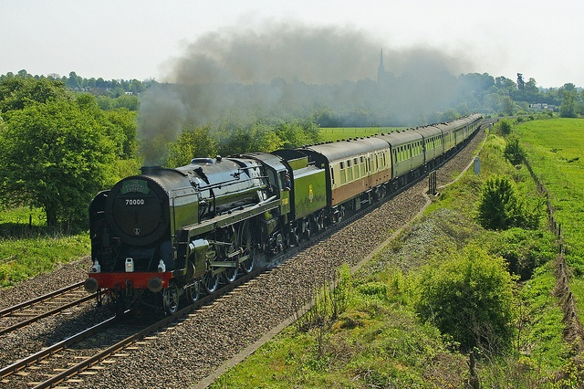 """70000 Brittania on the """" Cathedrals Express"""" (Paddington to Stratford on Avon) passing Kings Sutton ,Oxon. by wilf slack, via Flickr"""