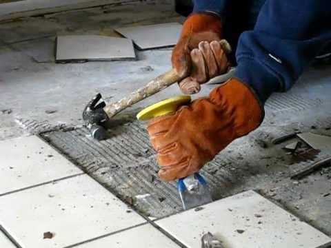 How to remove tile - the easiest, fastest and most efficient way. To learn how to remove mastic or thinset after removing tile, here is link to my other video: http://www.youtube.com/watch?v=NGZmV7KNqwQ  Instructional video on how to install a tile floor: http://www.youtube.com/watch?v=-Ws0Lc1hiKc