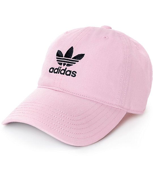 The adidas pink baseball hat for women is the perfect accessory to finish off any casual look. This baseball cap is crafted with a pure cotton construction in a light pink colorway, finished with a curved bill and a white adidas Trefoil logo embroidered a