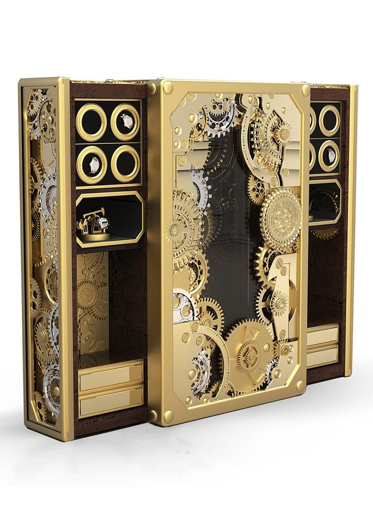BARON LUXURY SAFE - Safe-box with a wooden structure, lined with polished brass. It's full of brass and stainless steel gears all aroud the outside. It's opening system works with an automatic engine that works with a remote. | See more: www.bocadolobo.com #bocadolobo #furniture #safe