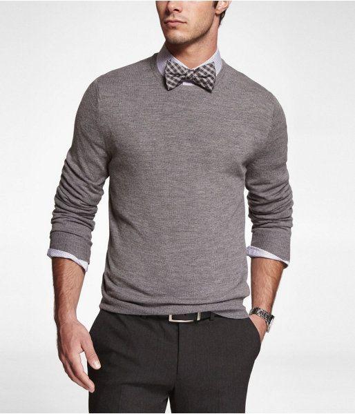 Express Mens Merino Wool Crew Neck Sweater Heather Gray, Medium $41.94