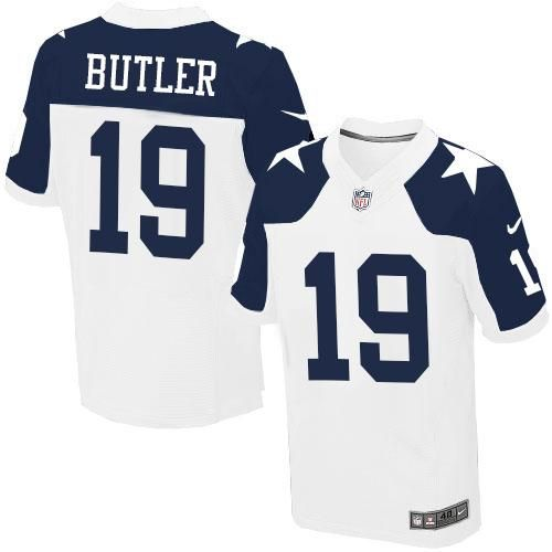 Nike Cowboys #19 Brice Butler White Thanksgiving Throwback Men's Stitched NFL Elite Jersey