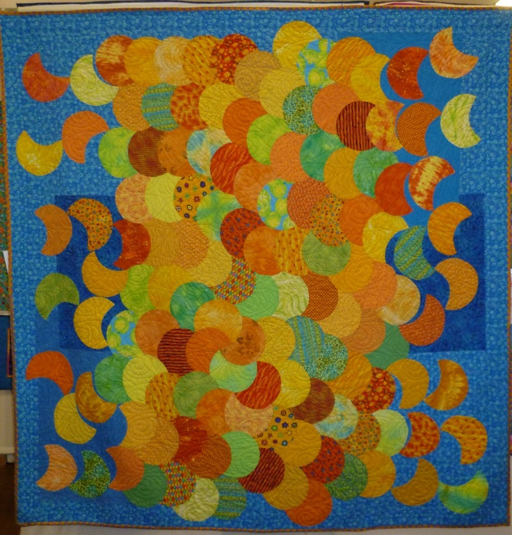 Citrus Quilt. Pieced by hand, quilted by Jo Hollings.
