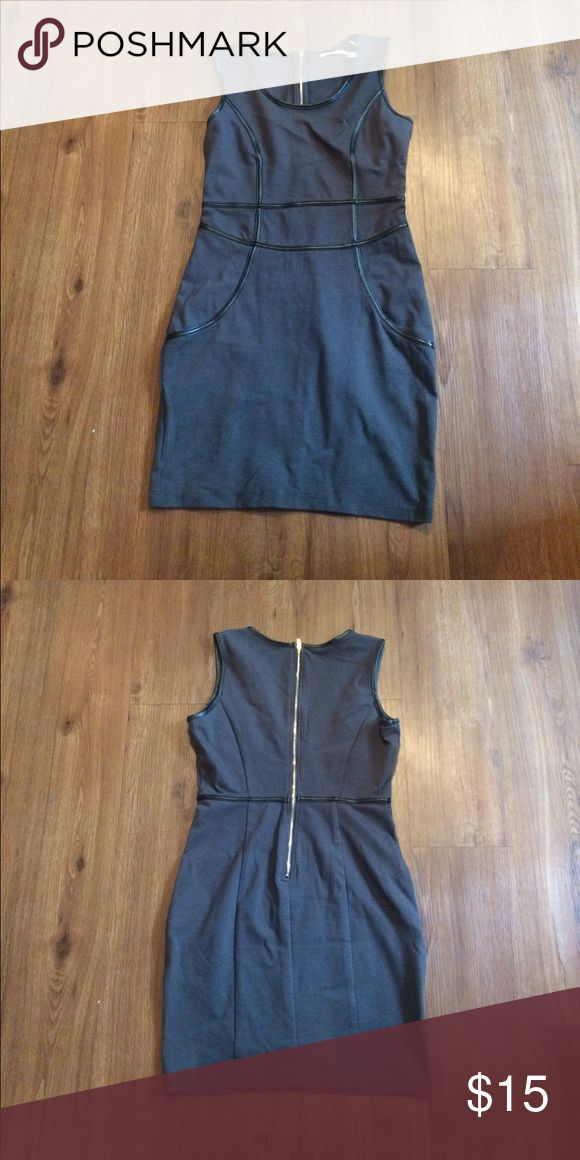 Grey bodycon dress Only worn once. Grey dress, black leather outlining Love Culture Dresses