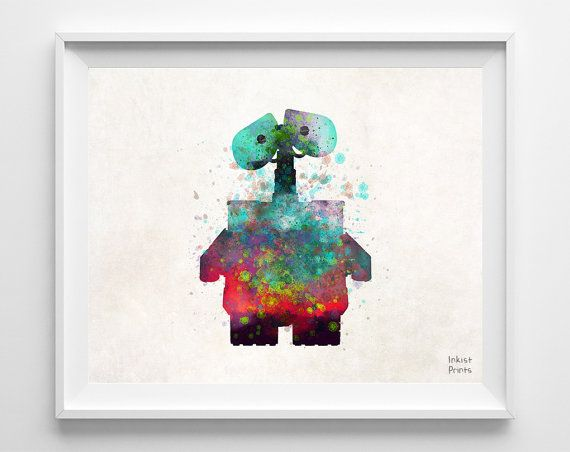 WallE Disney Watercolor Print Wall E Poster Art by InkistPrints, $11.95 - Shipping Worldwide! [Click Photo for Details]