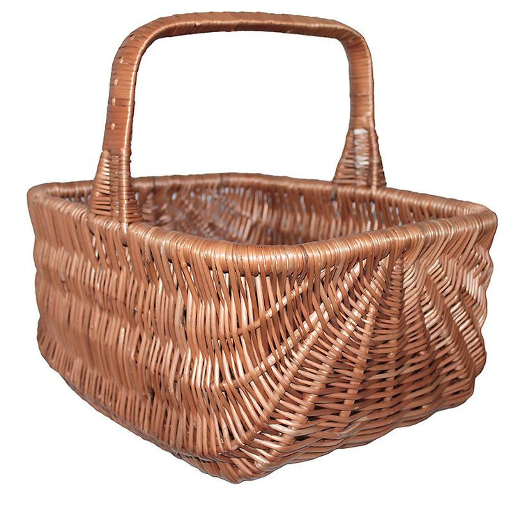 Wicker Shopping Basket large traditional 42x33x39cm handcrafted natural kitchen