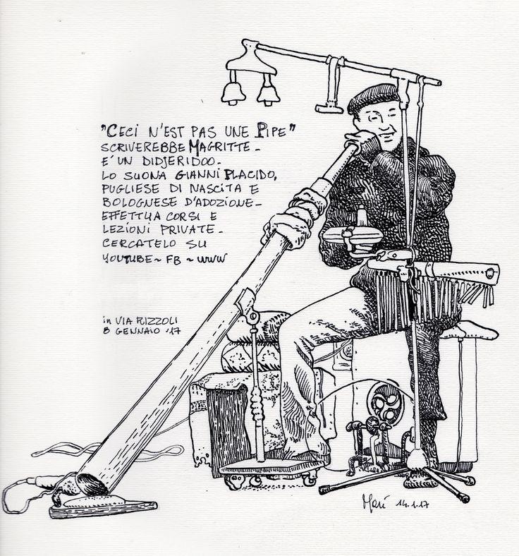 """CARTOLINA DA VIA RIZZOLI - """"Ceci n'est pas une pipe"""" scriverebbe Magritte. E' un didjeridoo. Lo suona Gianni Placido, pugliese di nascita e bolognese d'adozione. Effettua corsi e lezioni private. Cercatelo su YouTube - FB - www. Visto in via Rizzoli l'8 gennaio '17"""