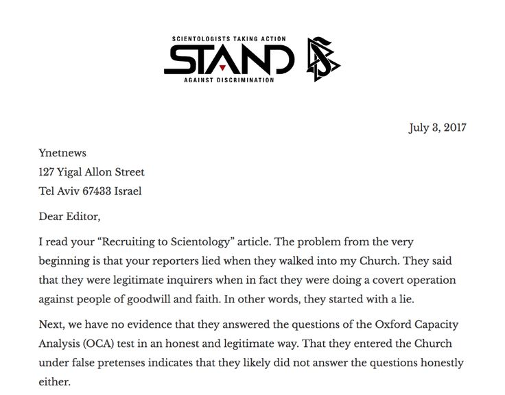 Dishonest Reporting in @Ynetnews article on Scientology    Read the full letter on the @STANDleague site http://qoo.ly/g9f6z    In short, we challenge the truth and honesty of your report and article because it was written or sourced to two individuals who lied when they entered the Church of Scientology.