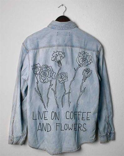LIVE ON COFFEE & FLOWERS Vintage Denim Jacket/Shirt