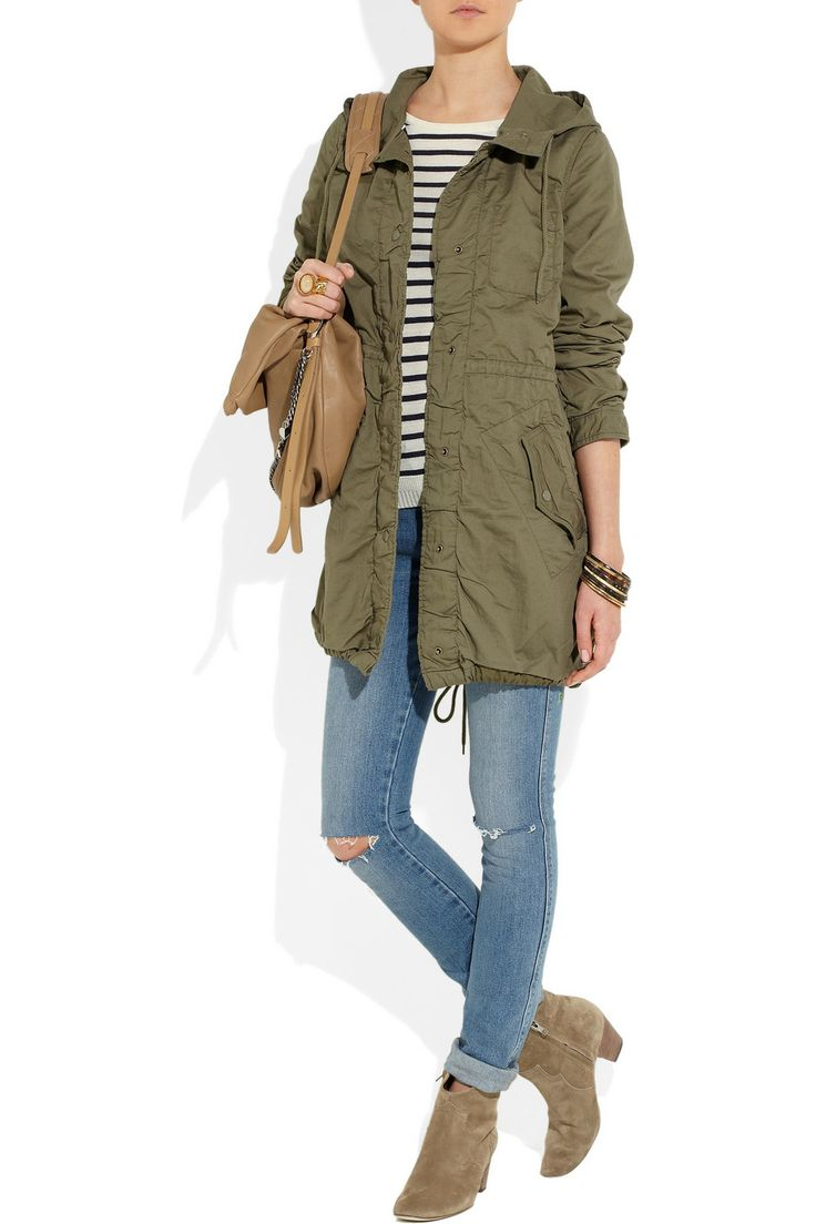 Olive Parka, striped top, cuffed jeans, neutral ankle boots