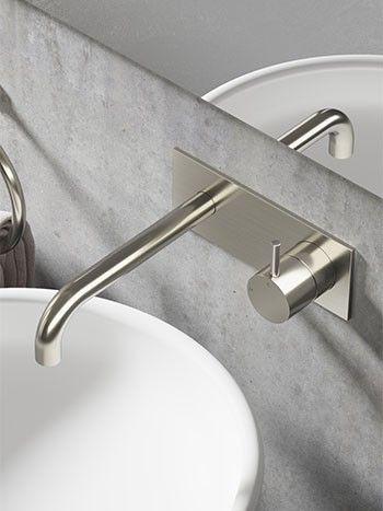 Hotbath Cobber CB006 inbouw wastafelmengkraan en achterplaat met inbouwsysteem geborsteld nikkel