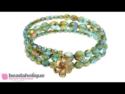 How to Make a Memory Wire Bracelet using Czech Fire Polished Glass Beads - YouTube