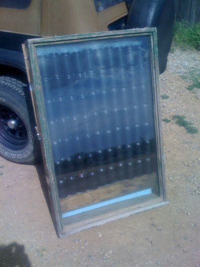 Free heat from an old window and cans: Idea, Solar Heater, Greenhouse, Solar Panels, Old Windows, Garage, Garden, Solar Space