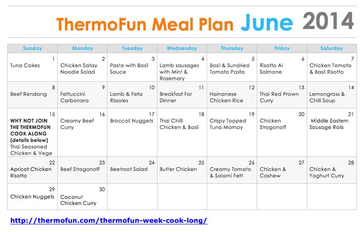 ThermoFun - FREE June Meal Plan 2014 - ThermoFun | making decadent food at home |
