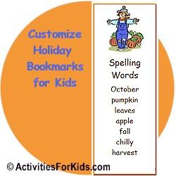 Add a quote, poem or saying and create personalized bookmarks at ActivitiesForKids.com