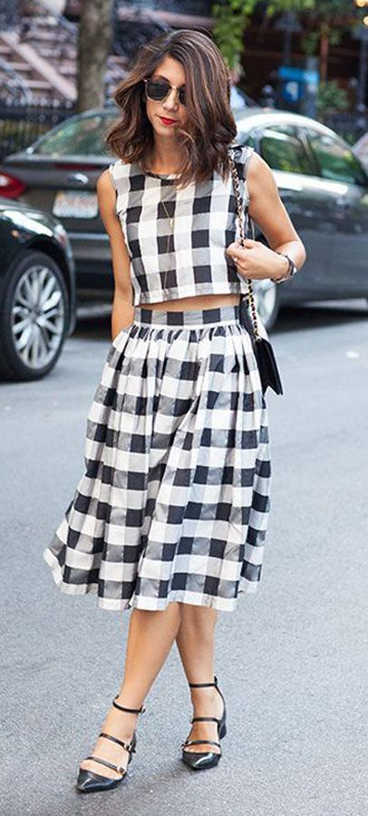 #gingham style black white #midi skirt and top #outfit