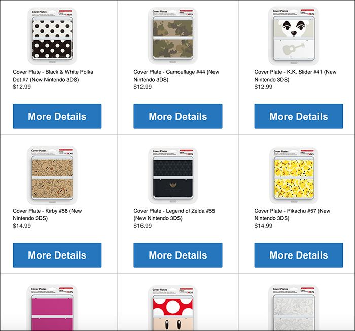North American online Nintendo store is selling New 3DS cover plates