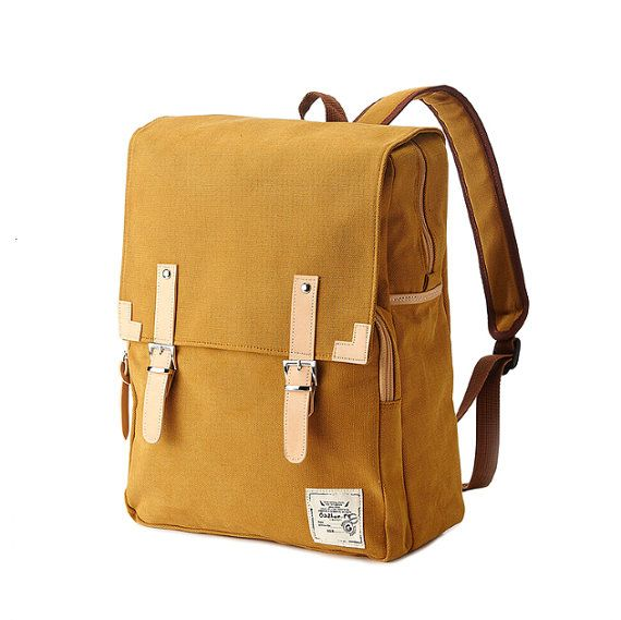 Made of high quality canvas cotton fabric backpack. Strap and part is made of synthetic leather. Magnetic closure at front. Zipper closure at top opening. Compartment for laptop inside.   Color: Mustard Size: 31cm(W), 39cm(H), 10cm(D)   * The 15 laptop fits in it  * 4 colors are available (Navy, Charcoal Gray, Mustard, Khaki)  1) Mustard   2) Navy   3) Charcoal Gray   4) Khaki   * Photos will look different on every computer you show it on  * Caution To clean, we suggest wiping them down…