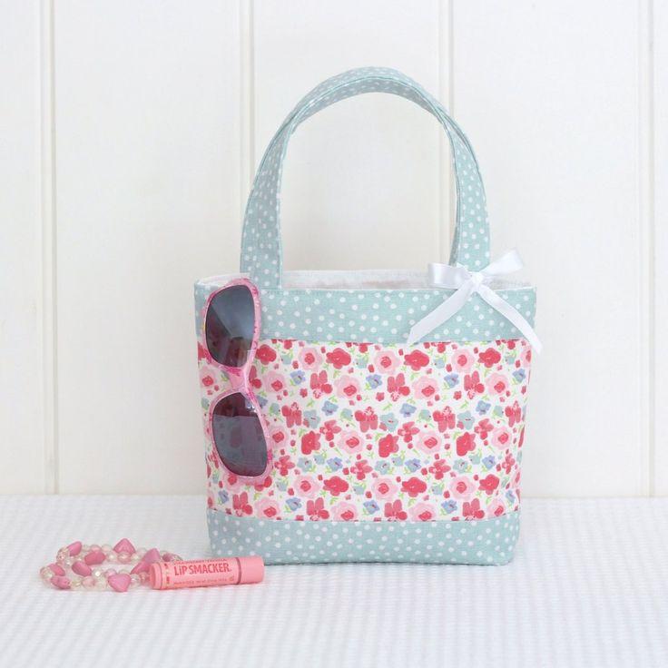 Little Girls Bag - Mint Spot & Pink Floral