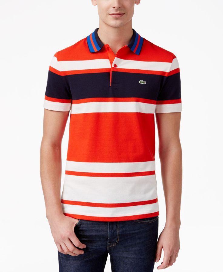 Lacoste Men's Slim-Fit Striped Pique Polo