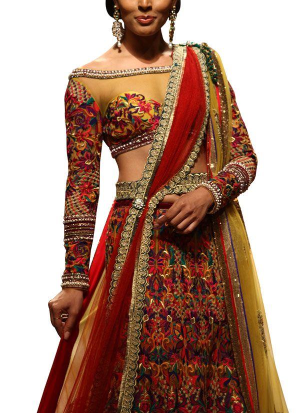 Indian Fashion Designers - Mandira Wirk - Contemporary Indian Designer - Lehengas - MW-SS15-BR-011 - Multicoloured Phulkari Inspired Lehenga