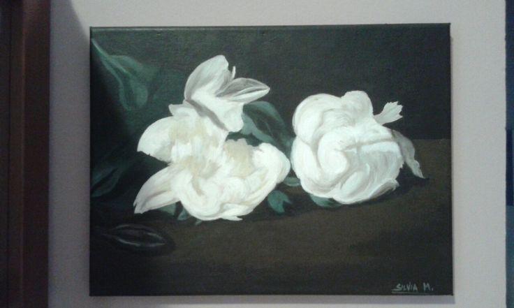 olio su tela- copia Edouard Manet Ramo di peonie bianche e forbici