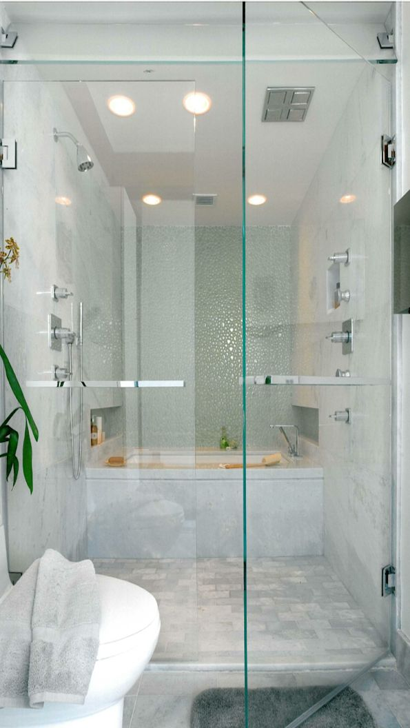 Bath in shower... def want to do a tub INSIDE the shower... with glass ...for downstairs bath