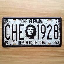 Envío gratis Vintage pintura metálica placa CUBA GUEVARA cartel de chapa Carnet de conducir Placa decoración de la pared bar pub cafe retro hierro poster(China (Mainland))