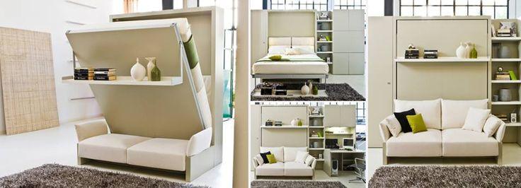 Ruimtebesparend meubilair. Bed-Bank-Hangplank