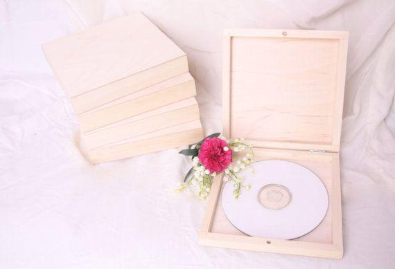 set of 10 double CD/DVD wooden unfinished box, square lid, eco unpainted plain wood decoupage, CD case, keepsake wedding dvd box, wooden box