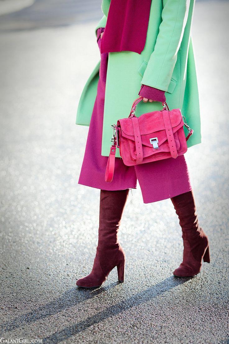 Proenza Schouler Pink suede tiny 'PS1' satchel on GalantGirl.com