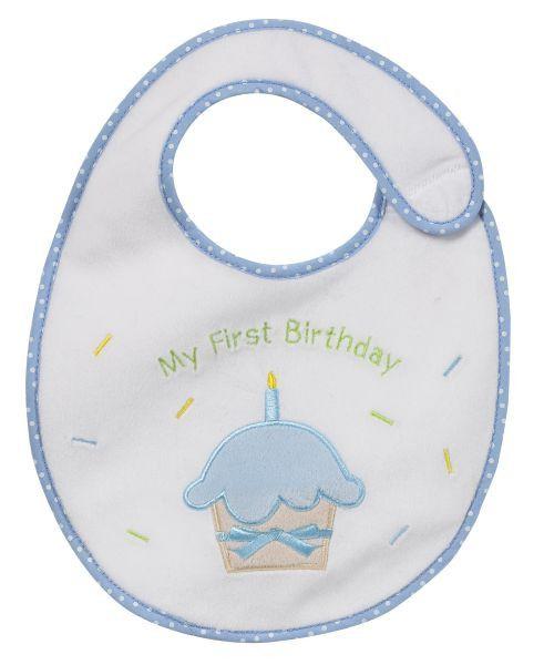My First Birthday Bib - Boy Blue