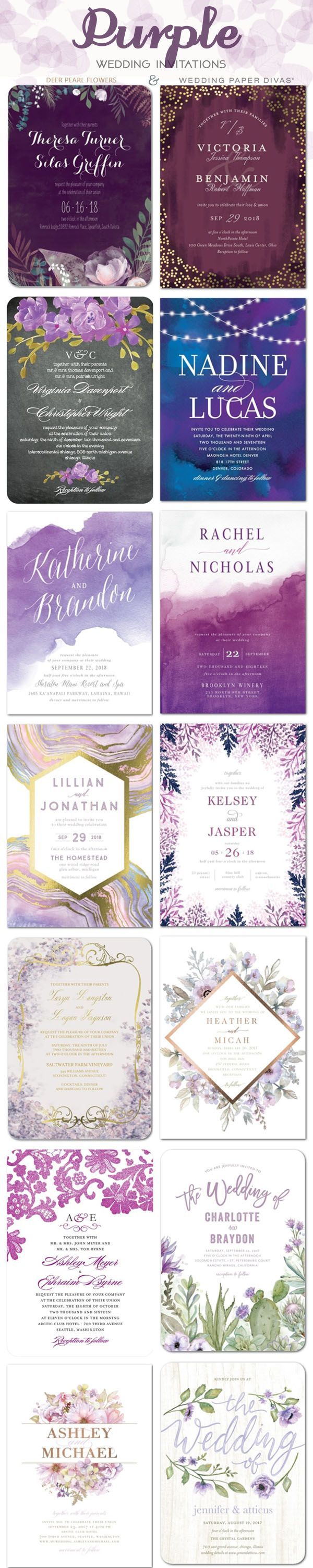 Purple wedding color ideas - Purple wedding invitations / http://www.deerpearlflowers.com/wedding-paper-divas-wedding-invitations/2/