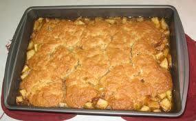 Bisquick Apple Cobbler  1 1/2 c. Bisquick 1 1/2 c. sugar 3 tbsp. flour 3/4 tsp. cinnamon 1/4 tsp. nutmeg 9 c. sliced apples 1/3 c. cold water 3 tbsp. sugar  Mix sugar(1 1/2 c), flour, cinnamon, nutmeg, and sliced apples. Cook and stir over medium heat until almost tender. Put in baking dish. Mix Bisquick and sugar(3 tbsp); add water and stir. Spread over apples. Bake at 400 degrees for 20 to 25 minutes.